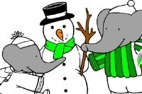 Coloriage Babar et le bonhomme de neige