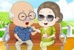 Grand-père et grand-mère au parc